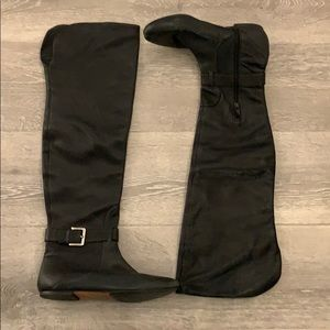 Cole Haan Black Leather Over the Knee Boots